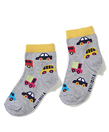 Vitamins Ankle Length Vehicle Print Socks - Grey