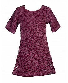 Hugsntugs Half Sleeves Net Dress - Maroon