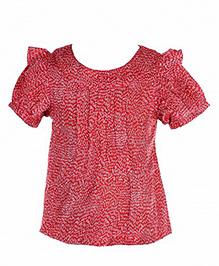 Hugsntugs Half Sleeves Printed Top - Red