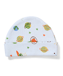 Dear Tiny Baby Cap Planet Design - White
