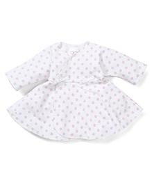 Dear Tiny Baby Long Sleeves Wrap Dress - White