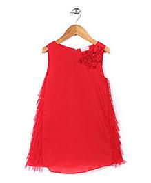 Little Coogie Rose Applique Dress - Red