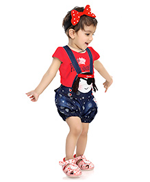 N-XT Dungaree With T-Shirt Pirate Print - Red And Navy