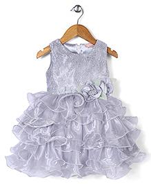 Little Coogie Flower Print Dress - Grey