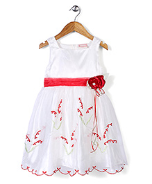 Little Coogie Dress With Flower Applique - White & Red