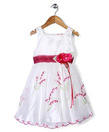 Little Coogie Dress With Flower Applique - White & Fushia