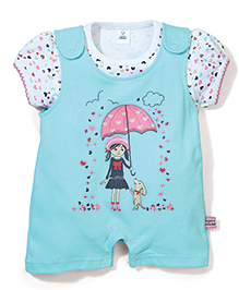ToffyHouse Romper With Inner Tee Hearts - Cyan Blue And White