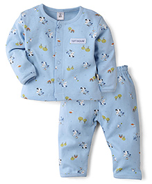 ToffyHouse Full Sleeves Night Suit Puppy Print - Blue