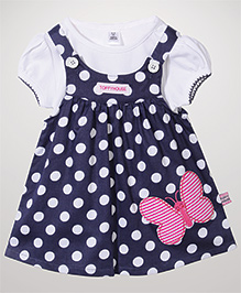 ToffyHouse Frock With Inner Top Butterfly Patch & Polka Dots - Navy And White