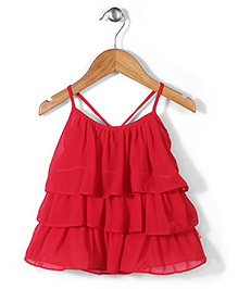 Chic Girls Singlet Frill Top - Red