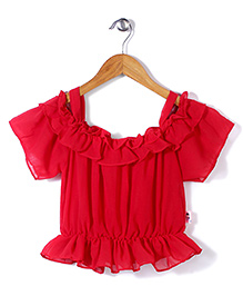 Chic Girls Short Sleeves Top - Red