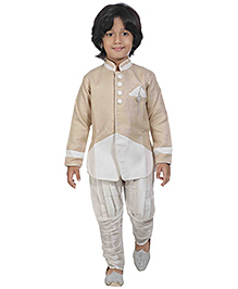 Jeet Ethnics Full Sleeves Kurta And Jodhpuri Breeches Set - Golden And White