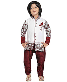 Jeet Ethnics Full Sleeves Silk Blend Kurta and Breeches Set - Off White And Maroon
