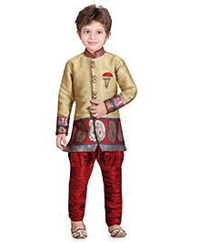 Jeet Ethnics Full Sleeves Silk Blend Kurta and Breeches Set - Beige And Maroon