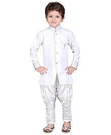 Jeet Ethnics Full Sleeves Silk Blend Kurta and Breeches Set - White