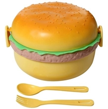 Fab N Funky Lunch Box - Orange - Burger Print