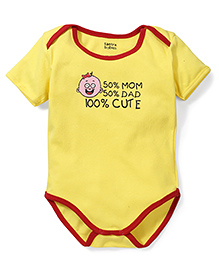 Tantra Half Sleeves Onesie 100% Cute Print - Yellow and Red