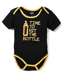 Tantra Half Sleeves Onesie Hit the Bottle Print - Black