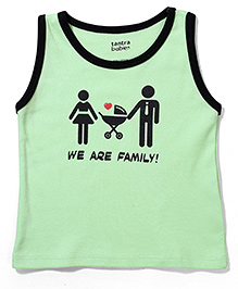 Tantra Sleeveless T-Shirt We Are Family Print - Green