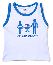 Tantra Sleeveless T-Shirt We Are Family Print - White