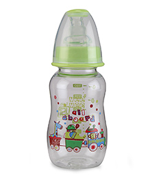 Mee Mee Plastic Premium Feeding Bottle All Aboard Print Green - 150 Ml