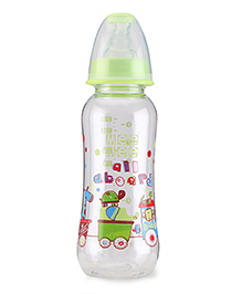 Mee Mee Plastic Premium Feeding Bottle All Aboard Print Green - 250 Ml