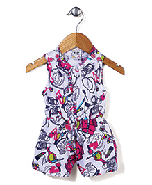 N-XT Sleeveless Jumpsuit Multi Print - White
