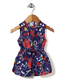 N-XT Sleeveless Jumpsuit Multi Print - Navy