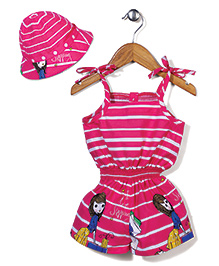 N-XT Singlet Jumpsuit With Cap Stripes Print - Pink