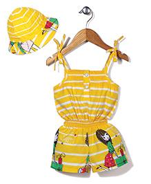N-XT Singlet Jumpsuit With Cap Stripes Print - Yellow