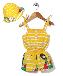 N-XT Singlet Jumpsuit With Cap Stripes Print - Yellow