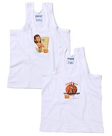 Fundeez Sleeveless Vest Multi Print Set Of 2 - White