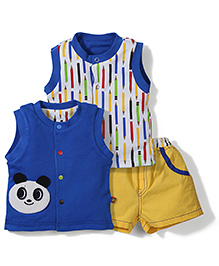 Wow Set OF Two Front Open T-Shirts & Shorts Set - Royal Blue & Yellow