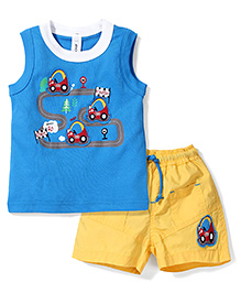 Mickey Sleeveless Cars Print T-Shirt And Stripes Shorts - Blue And Yellow