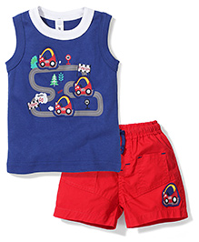 Mickey Sleeveless Cars Print T-Shirt And Stripes Shorts - Navy Blue And Red