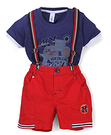 Mickey Half Sleeves T-Shirt And Suspender Shorts New Orleans Print - Navy & Red