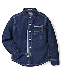 Police Zebra Juniors Blue Denim Shirt - Blue