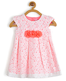 Toy Balloon Sleeveless Pleated Lace Dress With Floral Applique - Neon Pink And Off White
