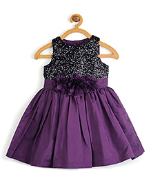 Toy Balloon Sleeveless Dress With Sequin Bodive And Bow Applique - Black And Purple