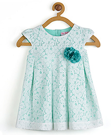 Toy Balloon Sleeveless Pleated Lace Dress With Floral Applique - Green