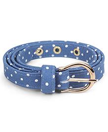 De Berry Dot Print Belt - Blue