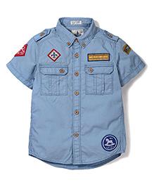 Police Zebra Junior Zebra Print Shirt - Sky Blue