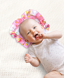 Babyhug Jumbo Semi Circular Pillow Teddy Print - Pink