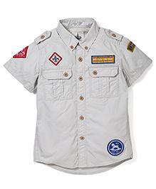Police Zebra Juniors Blue Camp Print Shirt - Light Grey