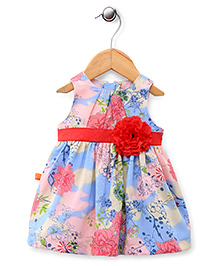 Yellow Duck Sleeveless Floral Applique - Red & Blue