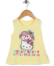Hello Kitty Sleeveless Top Caption Print - Lemon Yellow