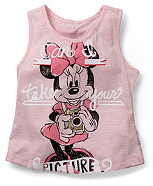 Mickey Mouse And Friends Sleeveless Tee Minnie Mouse Print - Pink