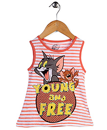 Tom and Jerry Sleeveless Tank Top Young & Free Print - White Coral