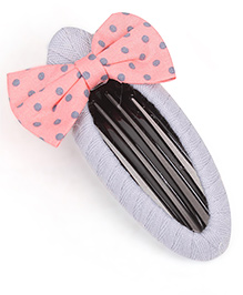 Clip Case Snap Clip With Bow - Grey & Pink