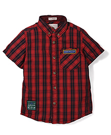 Police Zebra Junior Half Sleeves Checks Shirt - Red
